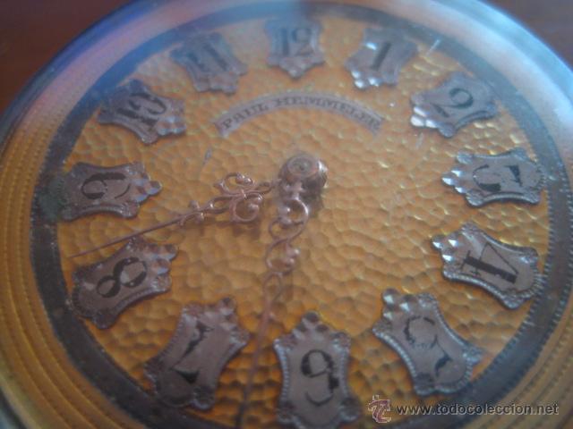 Relojes de bolsillo: PRECIOSO RELOJ SUIZO PAUL HEMMELER DE ESFERA DORADA Y NUMERACION EN PLETINAS, DATA DE 1890, FUNCIONA - Foto 3 - 49434946