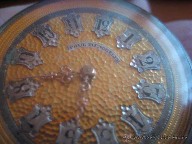 Relojes de bolsillo: PRECIOSO RELOJ SUIZO PAUL HEMMELER DE ESFERA DORADA Y NUMERACION EN PLETINAS, DATA DE 1890, FUNCIONA - Foto 4 - 49434946