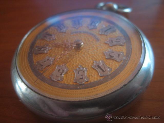 Relojes de bolsillo: PRECIOSO RELOJ SUIZO PAUL HEMMELER DE ESFERA DORADA Y NUMERACION EN PLETINAS, DATA DE 1890, FUNCIONA - Foto 5 - 49434946