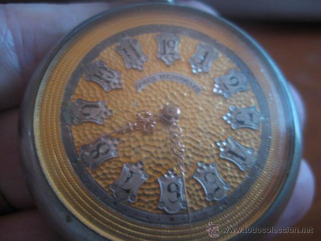 Relojes de bolsillo: PRECIOSO RELOJ SUIZO PAUL HEMMELER DE ESFERA DORADA Y NUMERACION EN PLETINAS, DATA DE 1890, FUNCIONA - Foto 6 - 49434946