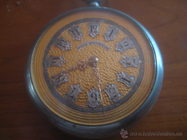 Relojes de bolsillo: PRECIOSO RELOJ SUIZO PAUL HEMMELER DE ESFERA DORADA Y NUMERACION EN PLETINAS, DATA DE 1890, FUNCIONA - Foto 8 - 49434946