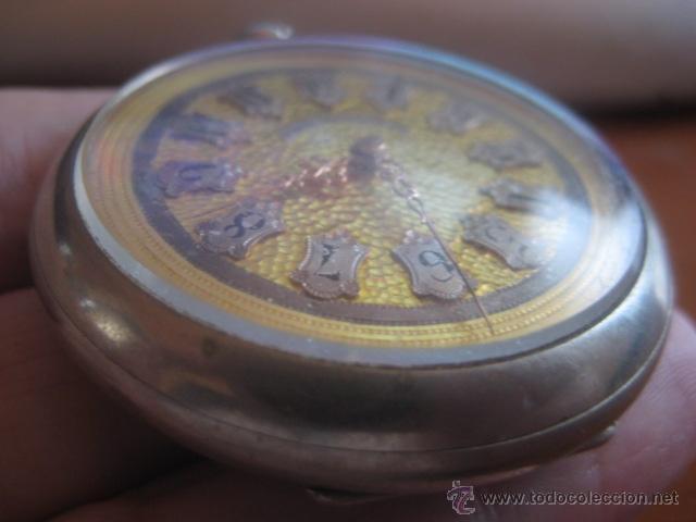 Relojes de bolsillo: PRECIOSO RELOJ SUIZO PAUL HEMMELER DE ESFERA DORADA Y NUMERACION EN PLETINAS, DATA DE 1890, FUNCIONA - Foto 9 - 49434946