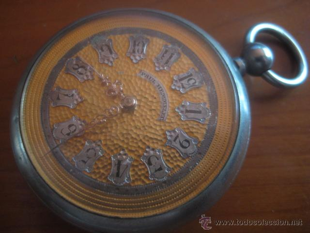 Relojes de bolsillo: PRECIOSO RELOJ SUIZO PAUL HEMMELER DE ESFERA DORADA Y NUMERACION EN PLETINAS, DATA DE 1890, FUNCIONA - Foto 11 - 49434946