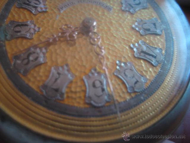 Relojes de bolsillo: PRECIOSO RELOJ SUIZO PAUL HEMMELER DE ESFERA DORADA Y NUMERACION EN PLETINAS, DATA DE 1890, FUNCIONA - Foto 12 - 49434946
