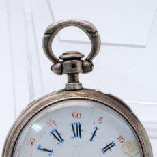 Relojes de bolsillo: RELOJ DE BOLSILLO PLATA CYLINDRE MUIT RUBIS S XIX. Lote 148446842