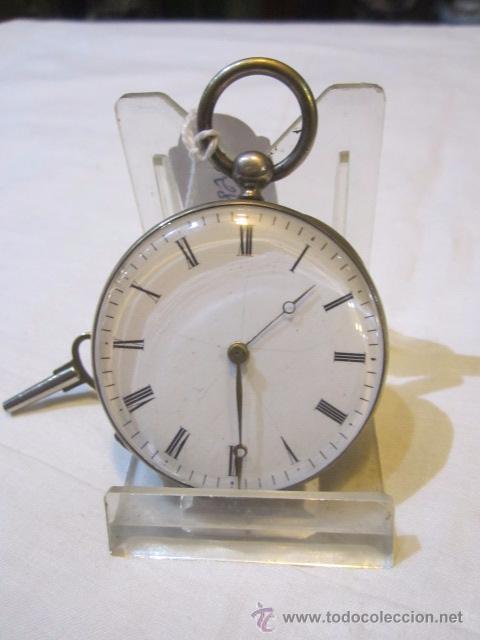 ANTIGUO RELOJ DE BOLSILLO DE PLATA. FUNCIONANDO. 44 MM. DIÁMETRO. (Relojes - Bolsillo Carga Manual)