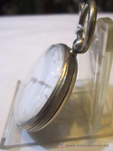 Relojes de bolsillo: Antiguo reloj de bolsillo de plata. Funcionando. 44 mm. diámetro. - Foto 3 - 49919936