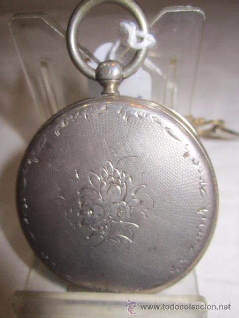 Relojes de bolsillo: Antiguo reloj de bolsillo de plata. Funcionando. 44 mm. diámetro. - Foto 4 - 49919936