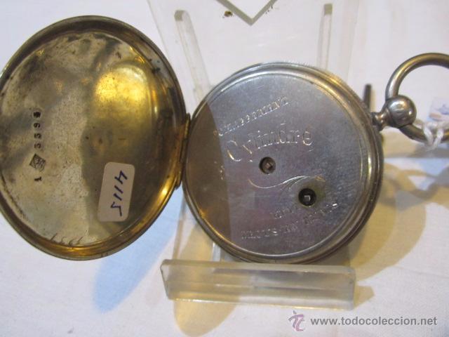 Relojes de bolsillo: Antiguo reloj de bolsillo de plata. Funcionando. 44 mm. diámetro. - Foto 5 - 49919936