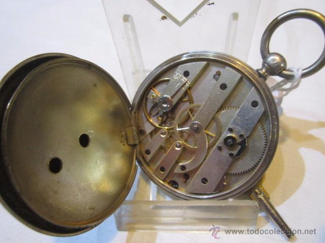 Relojes de bolsillo: Antiguo reloj de bolsillo de plata. Funcionando. 44 mm. diámetro. - Foto 6 - 49919936