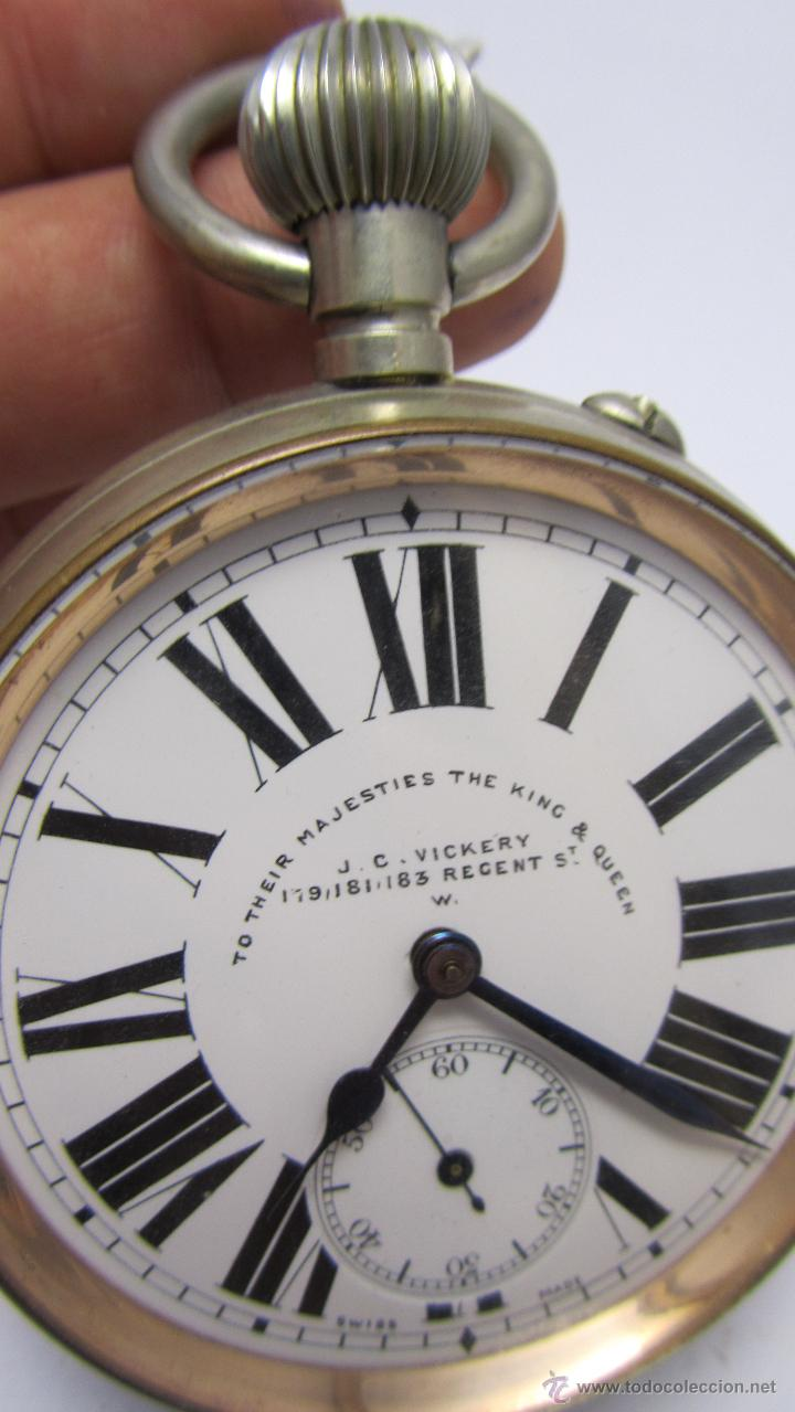 Relojes de bolsillo: Magnifico reloj tipo Goliat de la casa J.C Vickery. Año 1900 - Foto 8 - 50046809