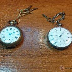 Relojes de bolsillo: DOS RELOJES DE BOLSILLOS DE CABALLERO MUY ANTIGUOS, PUESTA EN HORA Y CUERDA A LLAVE, NO FUNCIONAN. Lote 51448814