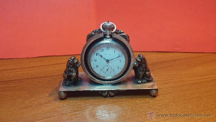 Relojes de bolsillo: Gran reloj con caja de plata maciza WALTHAM con 126gr de peso, de 1906, con relojera de plata maciza - Foto 2 - 49075738