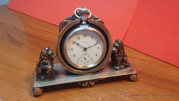 Relojes de bolsillo: Gran reloj con caja de plata maciza WALTHAM con 126gr de peso, de 1906, con relojera de plata maciza - Foto 4 - 49075738
