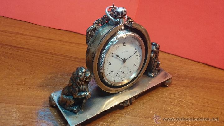 Relojes de bolsillo: Gran reloj con caja de plata maciza WALTHAM con 126gr de peso, de 1906, con relojera de plata maciza - Foto 5 - 49075738
