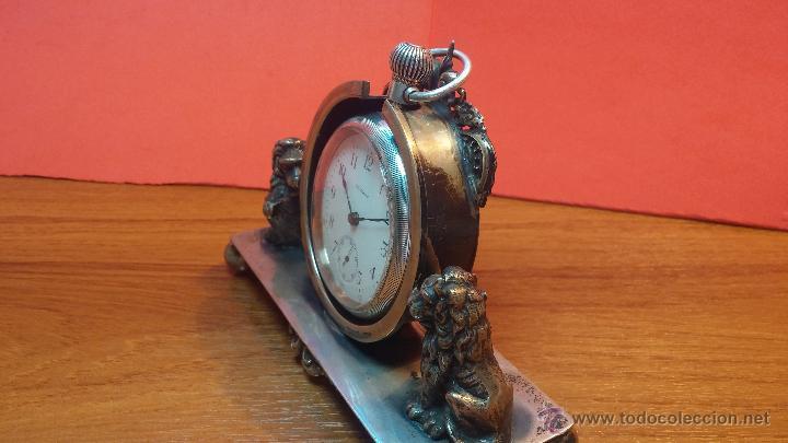 Relojes de bolsillo: Gran reloj con caja de plata maciza WALTHAM con 126gr de peso, de 1906, con relojera de plata maciza - Foto 9 - 49075738