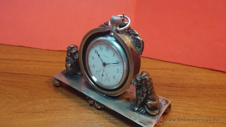 Relojes de bolsillo: Gran reloj con caja de plata maciza WALTHAM con 126gr de peso, de 1906, con relojera de plata maciza - Foto 10 - 49075738
