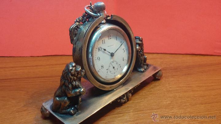 Relojes de bolsillo: Gran reloj con caja de plata maciza WALTHAM con 126gr de peso, de 1906, con relojera de plata maciza - Foto 11 - 49075738