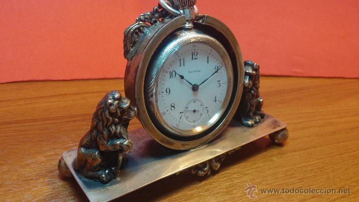 Relojes de bolsillo: Gran reloj con caja de plata maciza WALTHAM con 126gr de peso, de 1906, con relojera de plata maciza - Foto 13 - 49075738
