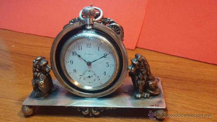 Relojes de bolsillo: Gran reloj con caja de plata maciza WALTHAM con 126gr de peso, de 1906, con relojera de plata maciza - Foto 14 - 49075738