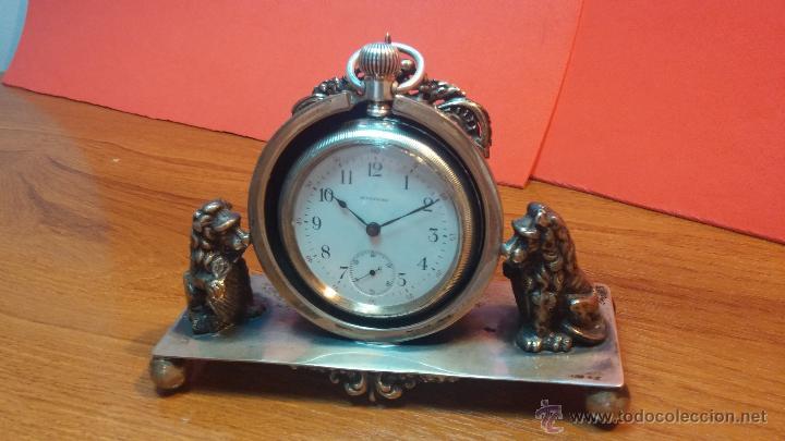 Relojes de bolsillo: Gran reloj con caja de plata maciza WALTHAM con 126gr de peso, de 1906, con relojera de plata maciza - Foto 15 - 49075738