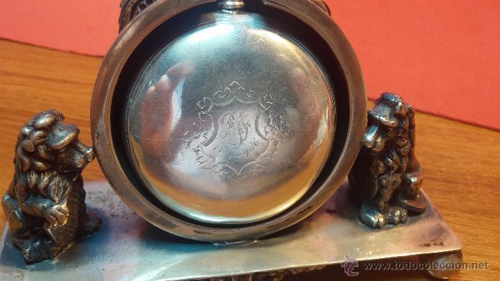 Relojes de bolsillo: Gran reloj con caja de plata maciza WALTHAM con 126gr de peso, de 1906, con relojera de plata maciza - Foto 17 - 49075738