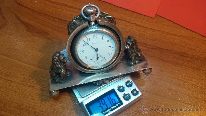 Relojes de bolsillo: Gran reloj con caja de plata maciza WALTHAM con 126gr de peso, de 1906, con relojera de plata maciza - Foto 22 - 49075738