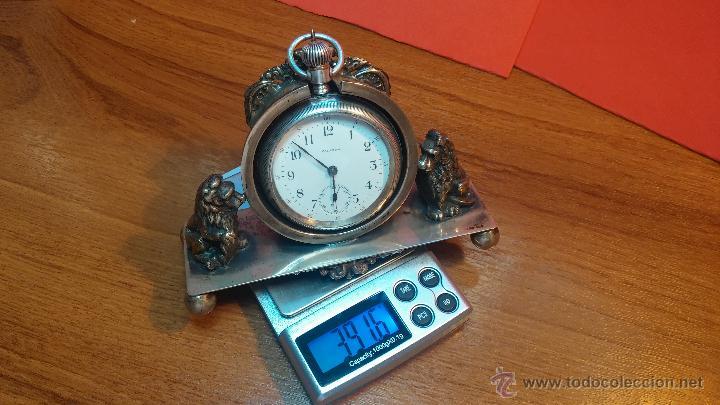 Relojes de bolsillo: Gran reloj con caja de plata maciza WALTHAM con 126gr de peso, de 1906, con relojera de plata maciza - Foto 23 - 49075738