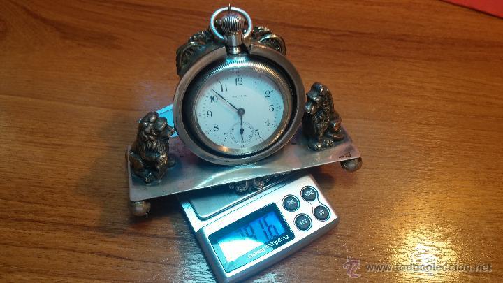 Relojes de bolsillo: Gran reloj con caja de plata maciza WALTHAM con 126gr de peso, de 1906, con relojera de plata maciza - Foto 24 - 49075738