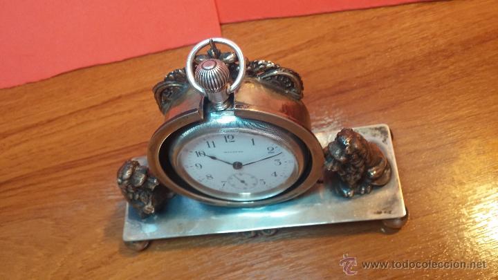 Relojes de bolsillo: Gran reloj con caja de plata maciza WALTHAM con 126gr de peso, de 1906, con relojera de plata maciza - Foto 25 - 49075738