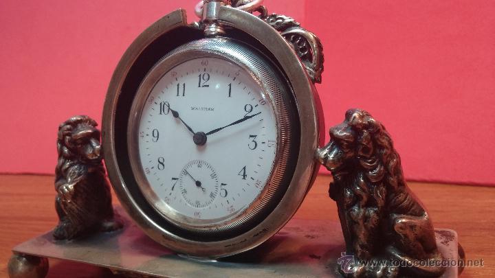 Relojes de bolsillo: Gran reloj con caja de plata maciza WALTHAM con 126gr de peso, de 1906, con relojera de plata maciza - Foto 26 - 49075738