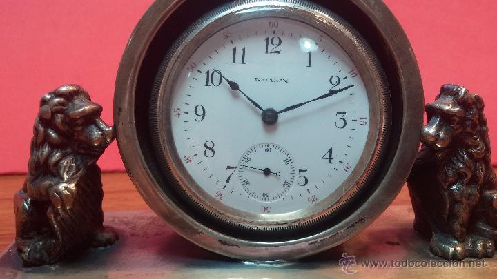 Relojes de bolsillo: Gran reloj con caja de plata maciza WALTHAM con 126gr de peso, de 1906, con relojera de plata maciza - Foto 27 - 49075738