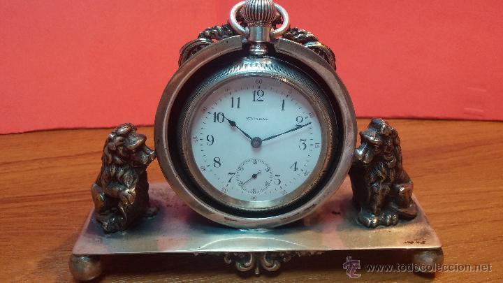 Relojes de bolsillo: Gran reloj con caja de plata maciza WALTHAM con 126gr de peso, de 1906, con relojera de plata maciza - Foto 28 - 49075738