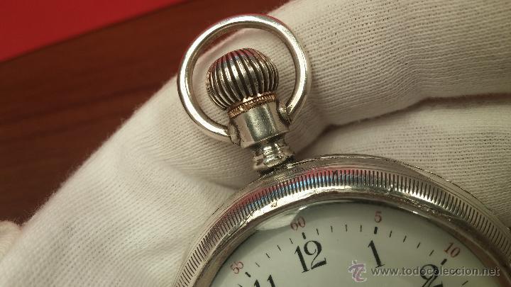 Relojes de bolsillo: Gran reloj con caja de plata maciza WALTHAM con 126gr de peso, de 1906, con relojera de plata maciza - Foto 31 - 49075738