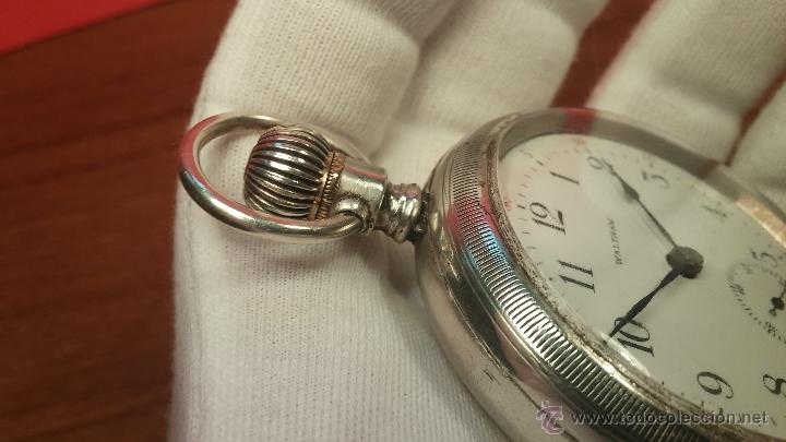 Relojes de bolsillo: Gran reloj con caja de plata maciza WALTHAM con 126gr de peso, de 1906, con relojera de plata maciza - Foto 32 - 49075738