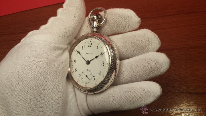 Relojes de bolsillo: Gran reloj con caja de plata maciza WALTHAM con 126gr de peso, de 1906, con relojera de plata maciza - Foto 34 - 49075738