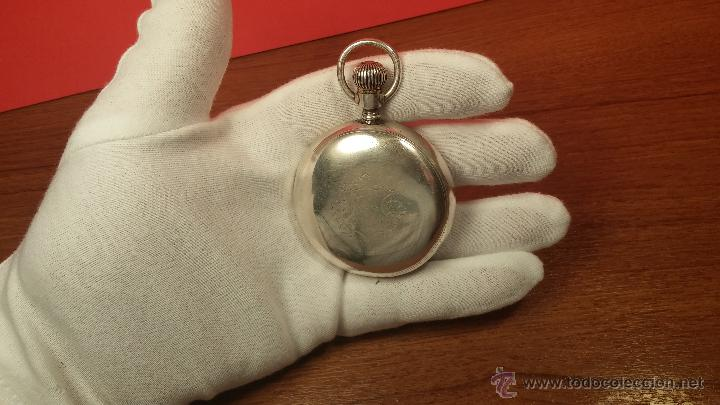 Relojes de bolsillo: Gran reloj con caja de plata maciza WALTHAM con 126gr de peso, de 1906, con relojera de plata maciza - Foto 37 - 49075738