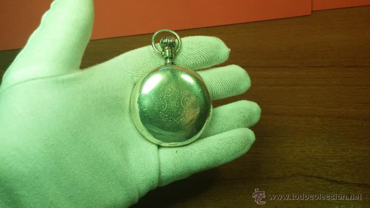 Relojes de bolsillo: Gran reloj con caja de plata maciza WALTHAM con 126gr de peso, de 1906, con relojera de plata maciza - Foto 39 - 49075738