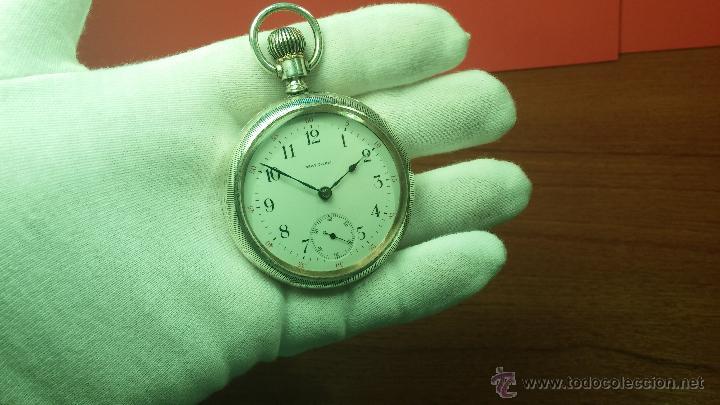 Relojes de bolsillo: Gran reloj con caja de plata maciza WALTHAM con 126gr de peso, de 1906, con relojera de plata maciza - Foto 40 - 49075738