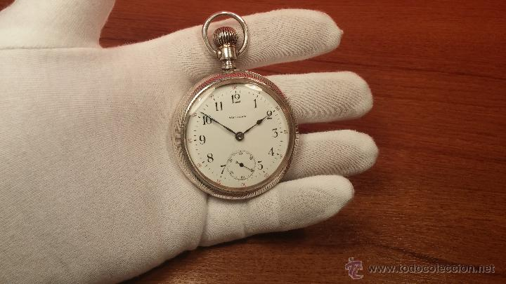 Relojes de bolsillo: Gran reloj con caja de plata maciza WALTHAM con 126gr de peso, de 1906, con relojera de plata maciza - Foto 41 - 49075738