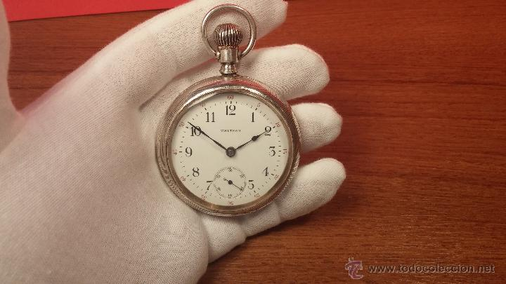Relojes de bolsillo: Gran reloj con caja de plata maciza WALTHAM con 126gr de peso, de 1906, con relojera de plata maciza - Foto 43 - 49075738