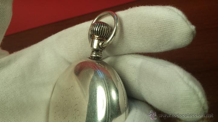 Relojes de bolsillo: Gran reloj con caja de plata maciza WALTHAM con 126gr de peso, de 1906, con relojera de plata maciza - Foto 49 - 49075738