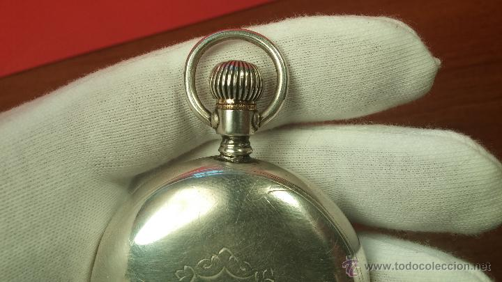 Relojes de bolsillo: Gran reloj con caja de plata maciza WALTHAM con 126gr de peso, de 1906, con relojera de plata maciza - Foto 50 - 49075738