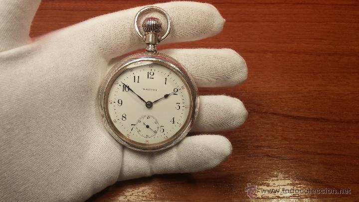 Relojes de bolsillo: Gran reloj con caja de plata maciza WALTHAM con 126gr de peso, de 1906, con relojera de plata maciza - Foto 51 - 49075738