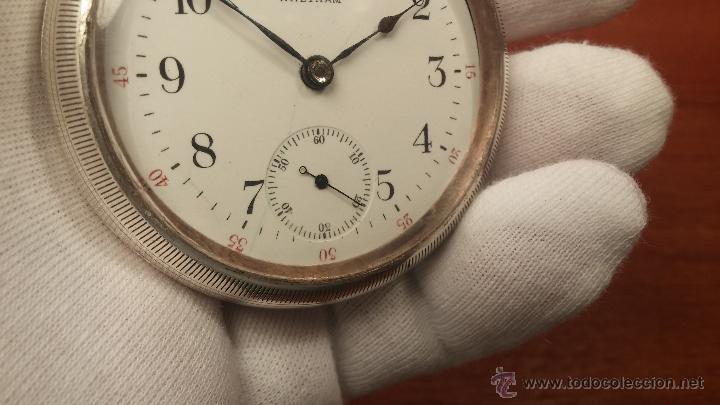 Relojes de bolsillo: Gran reloj con caja de plata maciza WALTHAM con 126gr de peso, de 1906, con relojera de plata maciza - Foto 55 - 49075738