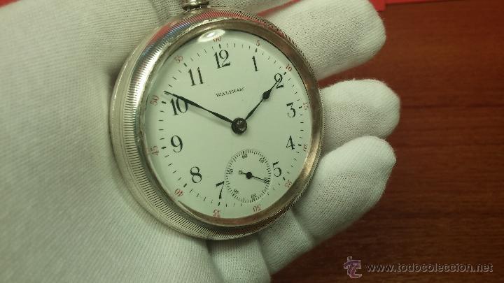 Relojes de bolsillo: Gran reloj con caja de plata maciza WALTHAM con 126gr de peso, de 1906, con relojera de plata maciza - Foto 57 - 49075738