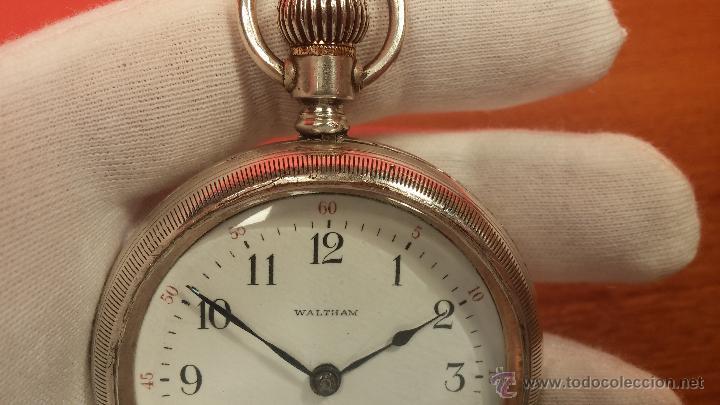 Relojes de bolsillo: Gran reloj con caja de plata maciza WALTHAM con 126gr de peso, de 1906, con relojera de plata maciza - Foto 58 - 49075738