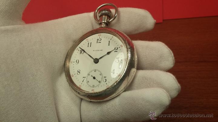 Relojes de bolsillo: Gran reloj con caja de plata maciza WALTHAM con 126gr de peso, de 1906, con relojera de plata maciza - Foto 59 - 49075738