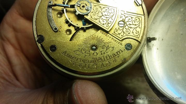 Relojes de bolsillo: Gran reloj con caja de plata maciza WALTHAM con 126gr de peso, de 1906, con relojera de plata maciza - Foto 64 - 49075738