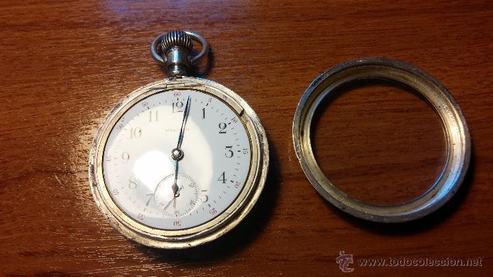 Relojes de bolsillo: Gran reloj con caja de plata maciza WALTHAM con 126gr de peso, de 1906, con relojera de plata maciza - Foto 69 - 49075738